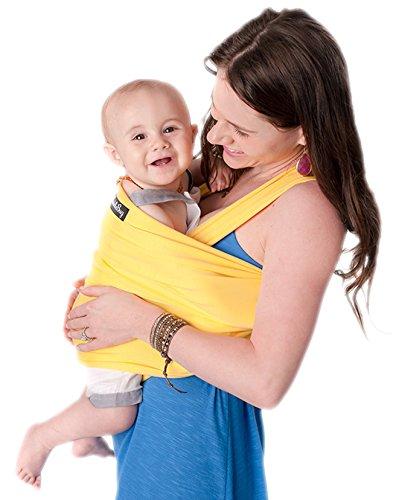 CuddleBug Fular Portabebés 9 en 1 – Canguro para Bebés Recién Nacidos y Niños hasta 16 Kg – Manos libres - Porta Bebés de Tela Suave y Elástico – Ideal como Regalo de Babyshower – Talla Única - (Amarillo)