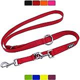 DDOXX Hundeleine Nylon, 3fach verstellbar | viele Farben & Größen | für kleine & große Hunde | Doppel-Leine Hund Katze Welpe | Schlepp-Leine groß | Führ-Leine klein | Lauf-Leine | XS, Rot, 2m