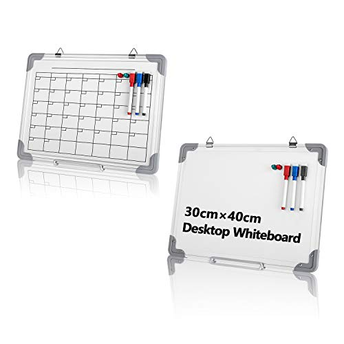 Pizarra blanca magnética pequeña, calendario mensual en ambos lados para escribir con 3 rotuladores borrables, 2 propósitos, planificador semanal, de pie o colgado en la pared.