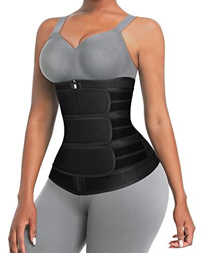 Neoprene Waist Trainer for Women 3 Strap Workout Long Torso Shapewear Black S