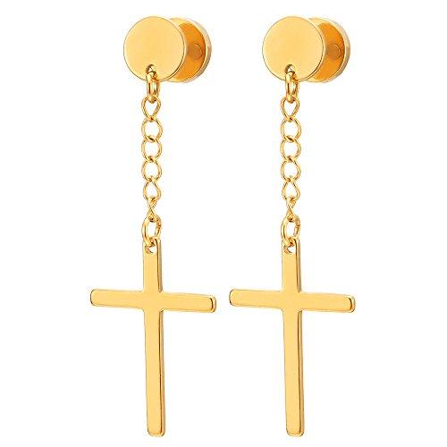2 Color Oro Círculo Pendientes con Colgantes Cruz Pendientes Hombres Mujer Muchachos Niños, Acero, Cierre Tornillo