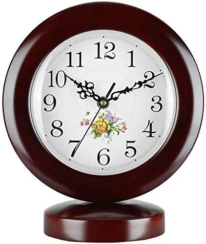 YJT.gz Wohnzimmer Einfache Kreative Uhr Pastoralen Kunst Chinesische Uhr Massivholz Schlafzimmer Quarzuhr Uhr IKEA Stumm Ornamente 29 * 24 cm (ohne Batterie)