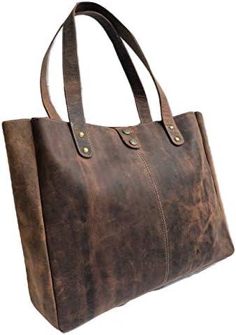 Genuine Soft Buffalo Leather Tote Bag Elegant Shopper Shoulder Bag SALE product image