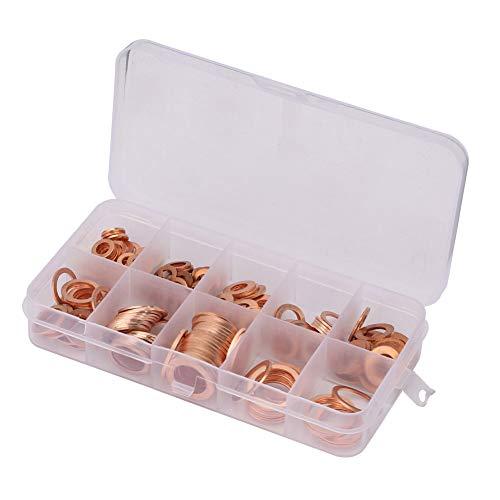 Juego de 200 arandelas de cobre sólido M5-M14, juego de herramientas profesionales en caja