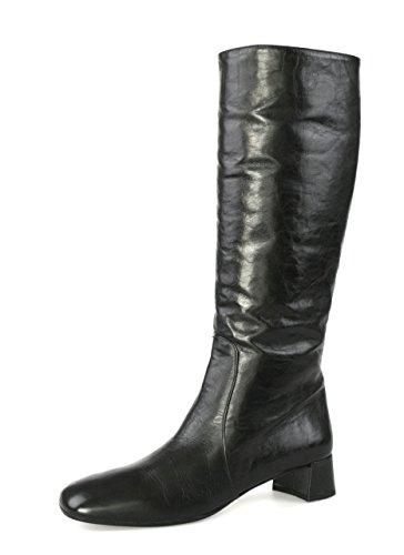 Prada Damen Schwarz Leder Stiefel 1W487D 40.5 EU