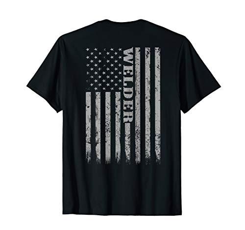 Mens Welders Vintage American Flag Welder Mig Gift T-Shirt