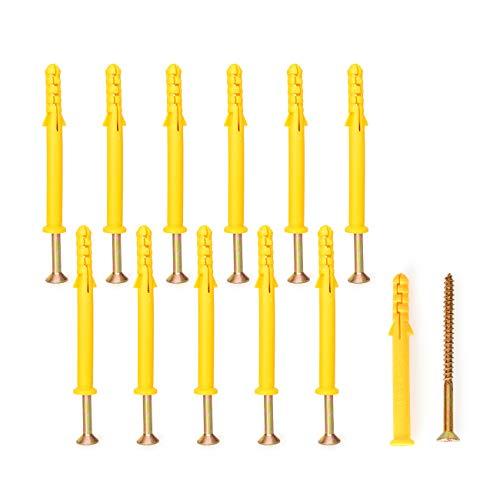 アンカーボルト 膨張チューブ 拡張ボルト セルフタッピングネジ ロール連結ネジ 強力 回転防止 固定具 コンクリートレンガ乾式壁用 12本入り(M8×80mm)