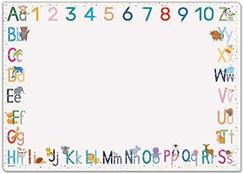blaash® ABC Schreibtischunterlage Papier DIN A3 für Kinder   25 Blatt Block mit viel Platz zum Malen, Schreiben oder Kritzeln   Unterlage Schreibtisch Mädchen & Jungen   Tischunterlage Kinder ABC