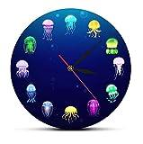 30 cm Reloj de Pared Reloj de Pared de Medusas oceánicas con Estampado Colorido, decoración de Acuario de guardería, jaleas Marinas, Reloj de Pared Decorativo, Arte de Pared de Animales Marinos
