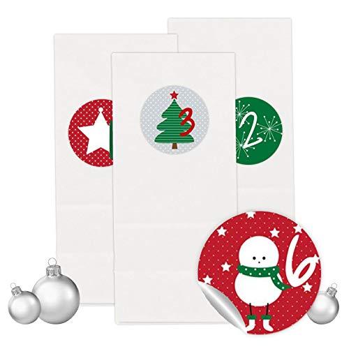 PaPIerDraCHeN Adventskalender Set - 24 Weiße Tüten mit 24 Rot-grünen Aufkleber Zahlen - zum Selbermachen - Adventskalender zum Befüllen - Mini Set 15 - von