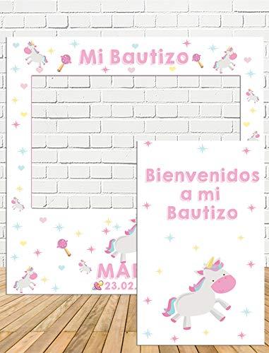 Photocall Bautizo de unicorio 100x100cm| Divertido y económico|Detalle de Bautizo de Unicornio| Hazte Unas Fotos Divertidas en el Bautizo de tu Hija| Personalizable