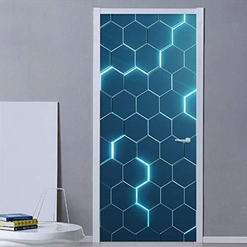 weichuang Vinilo decorativo para puerta moderno con diseño abstracto en 3D, diseño geométrico, azul de PVC, autoadhesivo, impermeable, para puerta