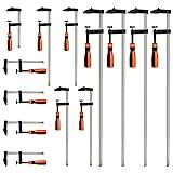VonHaus Lot de 13 serre-joints en forme de F avec une prise en main douce - 4 x 300 x 50 mm - 4 x 600 x 80 mm - 5 x 150 x 50 mm