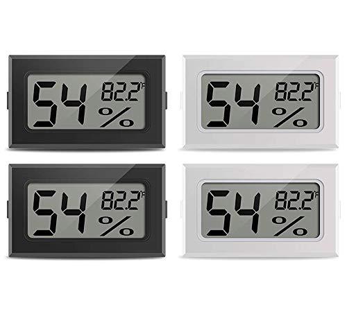ICQUANZXミニ温度計湿度計屋内デジタル電子爬虫類温度湿度ゲージモニターメーターヒュミドール、温室、庭、セラー、冷蔵庫、クローゼット、4パックのゲージ