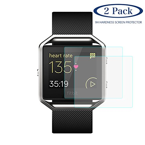 Cheboom [ 2-Pack ] for Fitbit Blaze Screen Protector,9H Hardness HD Clarity,Bubbles Free,2.5D Rounded Edge Waterproof Tempered Glass Screen Protector for Fitbit Blaze