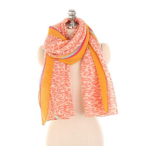 Women Winter Scarves Leopard Pattern Pleated Striped Cotton and Linen Scarf Wrap Shawl,AcisuHu