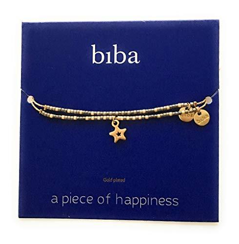 Wunschkarte SET Stern Star Armband gold beige/grau open Freundschaftsarmband Make a Wish CLW Biba