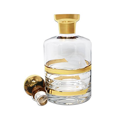 Galzze Crystal Luxurious Whiskey & Liquor Decanter – Handcrafted with Real Gold Wide-Rimmed Detailing and Stopper – for Scotch, Spirits, Vodka or Wine