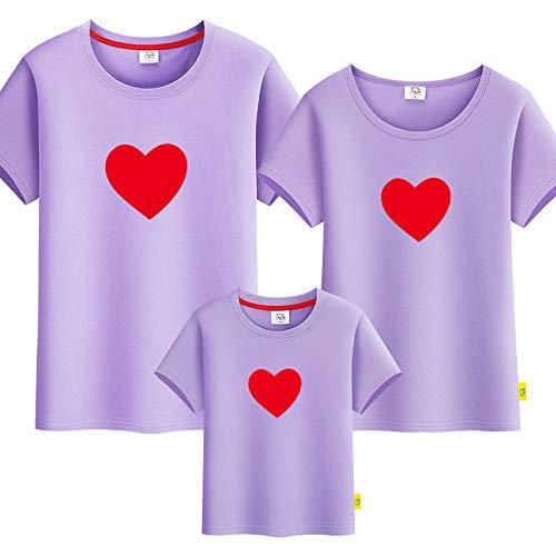 SANDA Madre E Hija,Padre-niño Verano 2021 Nuevo Padre-niño Camiseta Manga Corta Madre y Madre Madre e Hijo Vestido Amor Familia una Familia Tres-púrpura_Papá 3XL
