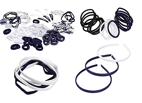 French Toast Kid's School Uniform Assorted Hair Accessories, Navy Blue & White, One Size
