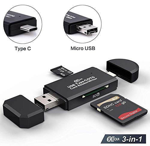 SD Card Reader, Micro SD/TF Compact Flash Card Reader with 3 in 1 USB Type C/Micro USB Male Adapter and OTG Function Portable Memory Card Reader for & PC & Laptop & Smart Phones & Tablets (USB 2.0)