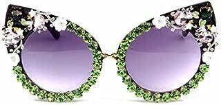 TYJYY Lunettes de soleil Lunettes de soleil Femmes Marque Lunettes de Verre Métal Bijoux avec Strass Décoration Yeux de Ch...