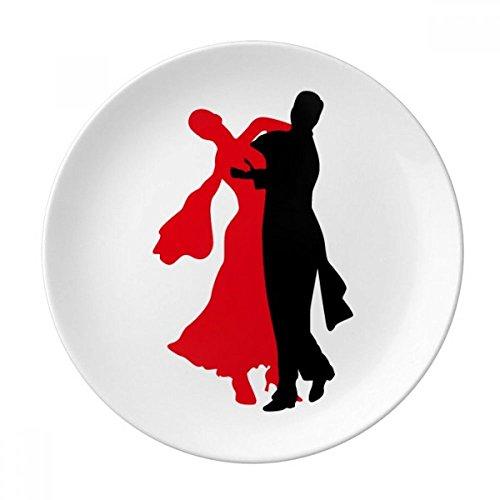 DIYthinker Danseur de Danse Sociale Duo Danse décorative Porcelaine Dessert Plate 8 Pouces Dîner Accueil Cadeau 21cm diamètre Multicolor