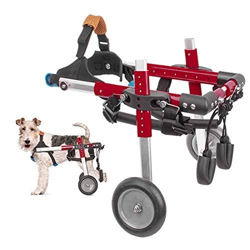 Anmas Power Hunderollstuhl für Hinterbeine, Aluminium 2-Rad Haustier-Rollstuhl Verstellbarer Haustier-Reha-Wagen für Katze und Hund (S, Rot)