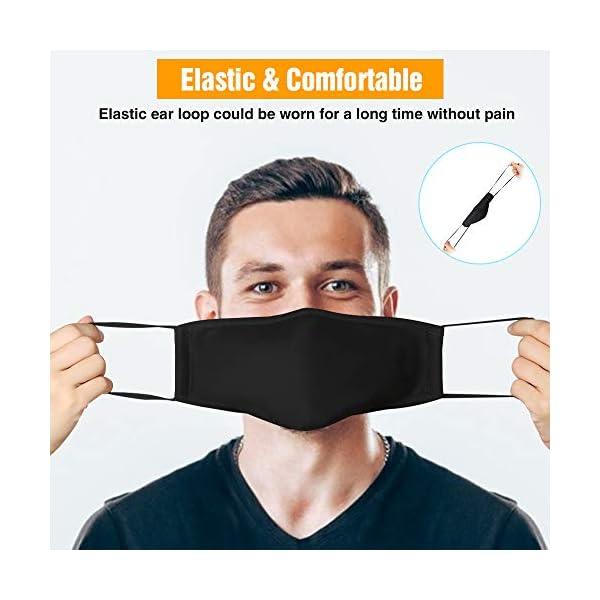 3 Pedazo con filtro PM2.5 Antipolvo para Transpirab bandanas faciales al aire libre reutilizable y lavable (Negro)