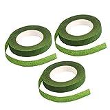 Cinta floral, alrededor de 22 m/rollo de ramo verde para manualidades, proyectos de manualidades (3 piezas)