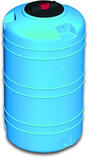 Serbatoio polietilene 5 mm tipo verticale RINFORZATO - FORI STAMPATI e FILETTATI acqua potabile alimenti (300 litri) blu cisterna