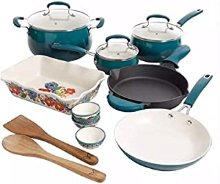 Pioneer Woman 17 Piece Cookware Set - Porcelain Enamel Ceramic Nonstick Aluminum with Cast Iron Skillet (Ocean Teal Classic Belly)