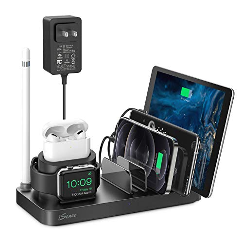 Charging Station, iSeneo Charging Station for Multiple Devices, 40.5W Adapter and AirPods Cable Included, Dock Organizer for iPhone, AirPods, iWatch, iPad, Android(Device Charging Cables not Included)