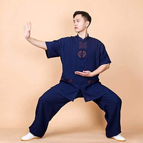 NIUXIAO Ropa De Tai Chi Ropa De Hombre, Manga Corta Bordado Kung Fu Uniforme - para Tai Chi Deportes Al Aire Libre,Blue-XXXL