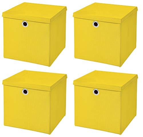 Stick&Shine 4X Aufbewahrungs Korb Gelb Faltbox 33 x 33 x 33 cm Regalkorb faltbar mit Deckel