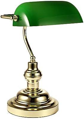 Relaxdays Bankerlampe Holzfuß grün Klassiker