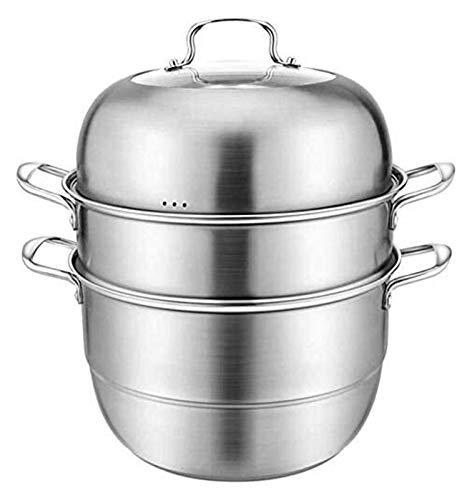 NBBB Sistema de la Bandeja de vaporizador de Acero Inoxidable Pote de Vapor de Vapor HOB DE INDUCCIÓN Gas Universal de la Olla de valores para cocinar 1219 (Color : 3 Tier, Size : 30cm)