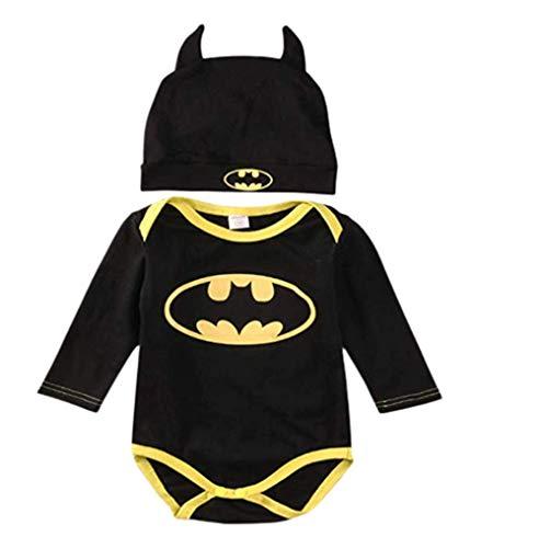 Strampler Set Junge, 2019 Baby Jungen Langarm Batman Strampler Hut Schuhe und Socken dreiteilige Kleidung Set (Lange Ärmel, 0-6 Monate)