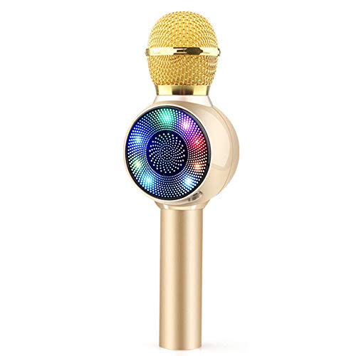 RROWER El micrófono de Karaoke, Bluetooth inalámbrico 3 en 1, micrófono portátil Altavoz del Jugador, Micrófono de Mano Bluetooth, para Kid Partido casero Chica Adulto Canto Regalo de cumpleaños