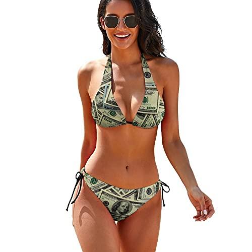 100 Dollar Bills Women's 2 Piece Swimsuit Bikini Set with Halter Bandage Bathing Suits