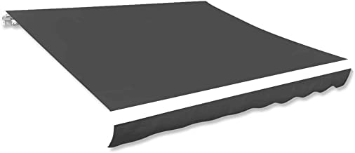 vidaXL Luifeldoek 481x296 cm Canvas Antraciet Luifel Zonwering Zonnescherm Kap