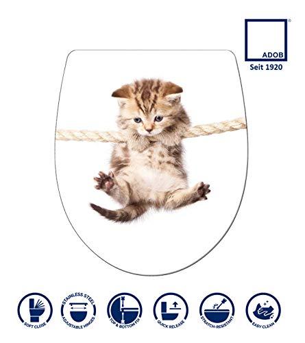 ADOB, Design WC Sitz Klobrille Klodeckel Katze Absenkautomatik, abnehmbar zur Reinigung, 60862