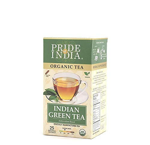 Pride Of India - Organic Indian Green Tea - 25 Count, 6-Pack (150 Tea Bags @ $0.16 per Bag) - Direct from Source, Grown in Himalayas, Antioxidant Boost, Balanced Flavor, Superb Value, Low Caffeine