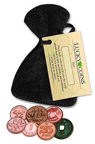 IMPACTO COLECCIONABLES Monedas de la Suerte - 7 Monedas Distintas con Bolsa de Terciopelo