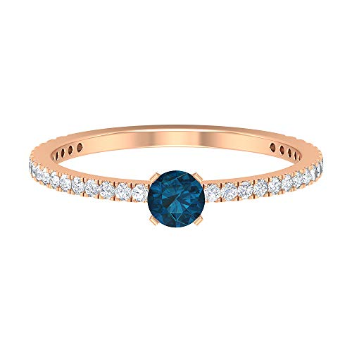 Rosec Jewels 14 quilates oro rosa redonda Round Brilliant Blue Moissanite Topacio azul - Londres