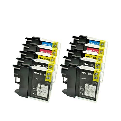 10 Tintenpatronen (Druckerpatronen) für Brother DCP J 125 LC 985 LC985, 4xbk je 22ml, 2x c,2x y, 2x m je 15ml, kompatibel