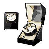 LSRRYD Caja de bobinador de relojes doble automático con rotación de relojes Mecha Nica con motor silencioso y carcasa de madera giratoria para reloj (color: A)