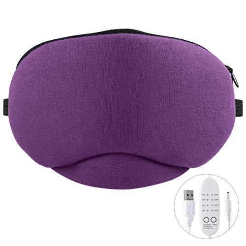 Eurobuy Masque chauffant USB pour les yeux - Pour les yeux bouffis et secs - Pour dormir n'importe où à la maison, en voyage - 4 niveaux de température et 3 minuteurs