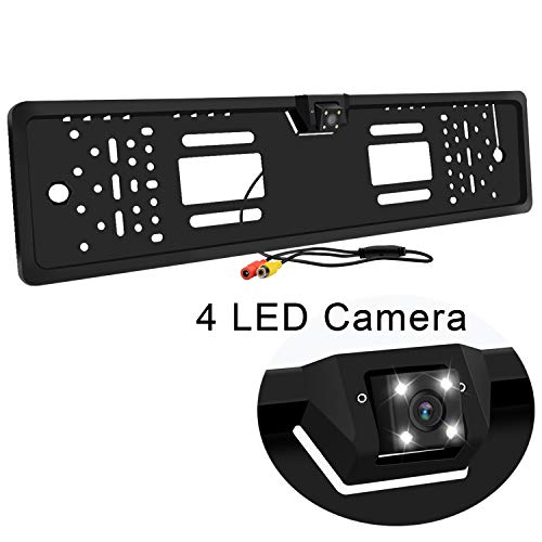 Telecamera di retromarcia per retromarcia auto, angolo di visione di 170 °. Targa automobilistica per retromarcia. Sistema di assistenza al parcheggio inverso con 4 luci LED