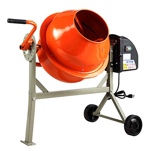 Sandinrayli 1/2 HP 2.2 Cu FT Portable Electric Concrete Cement Mixer Barrow Machine Mixing mortar